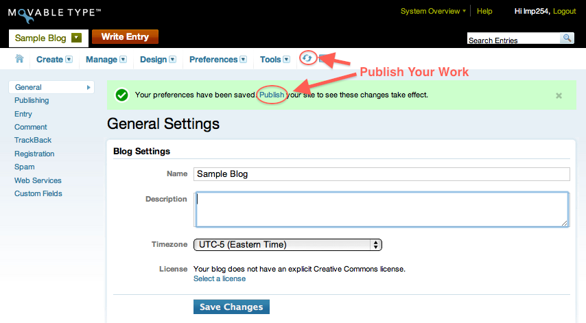 Edit Blog Title and Description and Publish Your Work Options